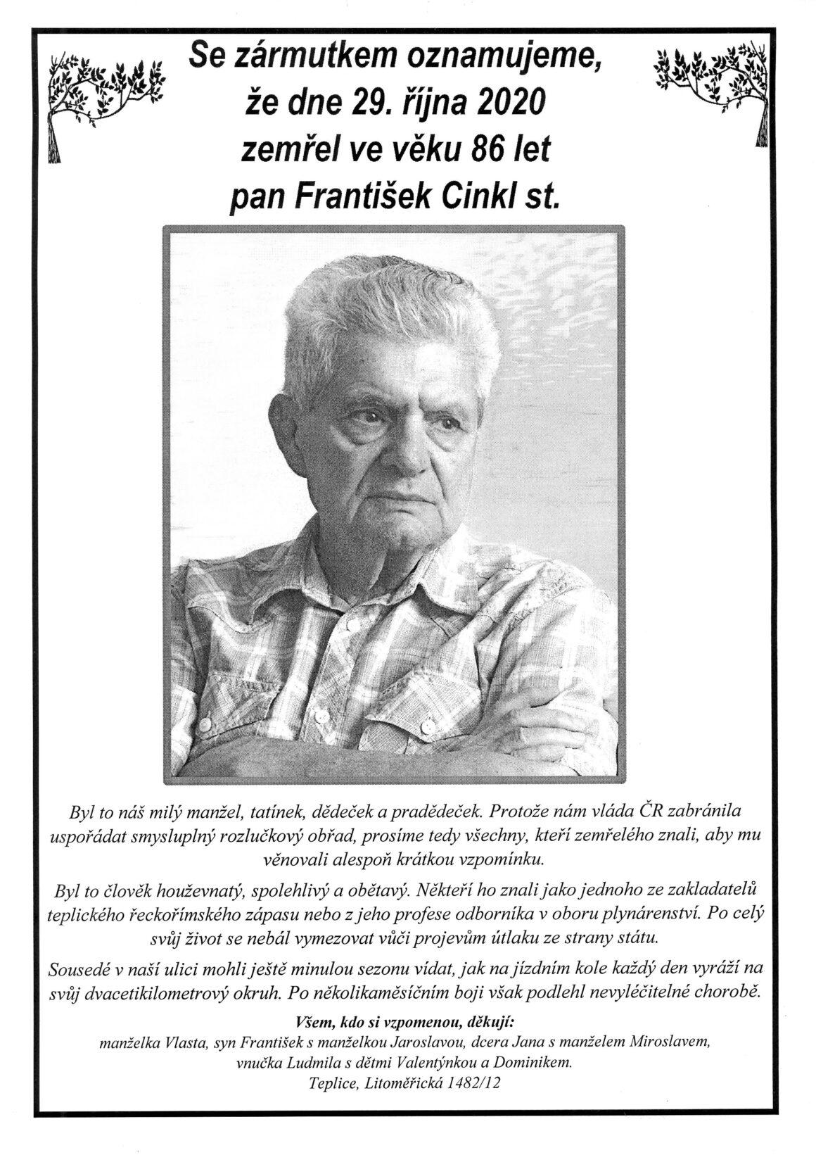 Další smutná zpráva, navěky odešel zápasník František Cinkl